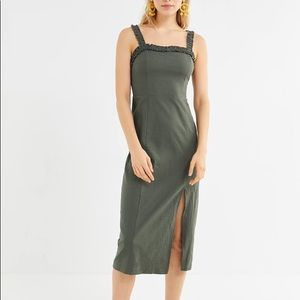 UO Remy Linen Ruffle Square-Neck Midi Dress